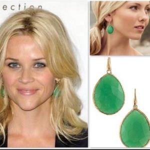 Stella&Dot Serenity Stone Drop Earring Green/Gold